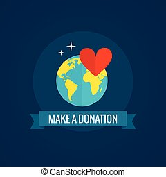 Charity and donations icon with globe heart and ribbon on...