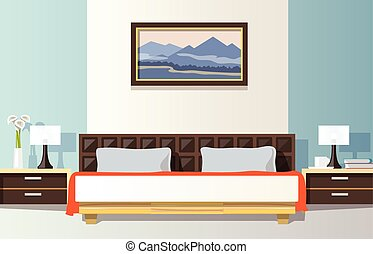Bedroom Flat Illustration - Bedroom interior with flat bed...