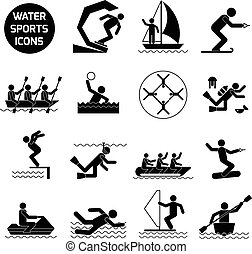 Water Sports Icons Black - Water sports icons black set with...