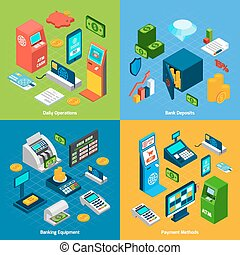 Isometric Banking Set - Banking design concept set with...