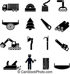 Woodworking Industry Icons Black - Woodworking industry...