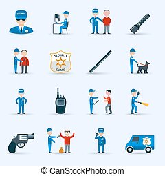 Security guard service icons set - Security guard officer...