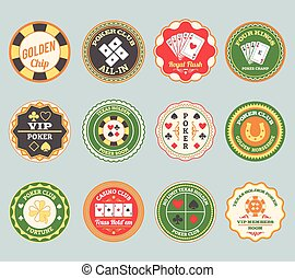 Poker retro labels set - Casino online club traditional...