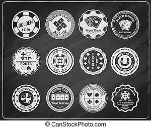 Poker chalkboard labels set - Texas poker club members room...