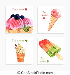 Ice cream watercolor icons composition banner - Multi...