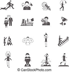 Motivation Icons Set - Motivation sport and business...