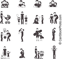 Fatherhood Icon Set - Fatherhood black icon set with happy...