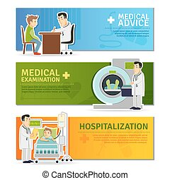 Medical Banners Set - Medical horizontal banners set with...