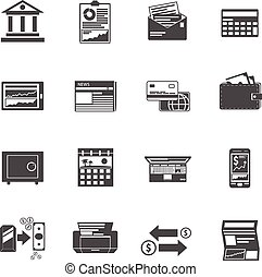 Banking Icons Black Set - Banking icons black set with cash...