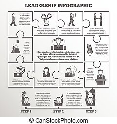 Leadership infographic set - Leadership and startup puzzle...