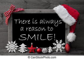 Blackboard Santa Hat Christmas Decoration Quote Reason Smile...