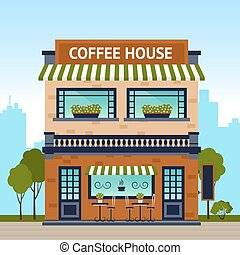 Coffee House Building - Coffee house building facade with...