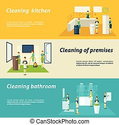 Cleaning In Rooms Flat Banners Set - Premises kitchen and...