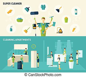 Super Cleaner Flat Banners Set - Super cleaner and cleaning...