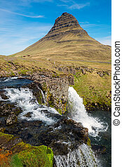 Mount Kirkjufell in Iceland - Mount Kirkjufell with the...