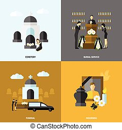 Funeral Flat Set - Funeral design concept set with cemetery...