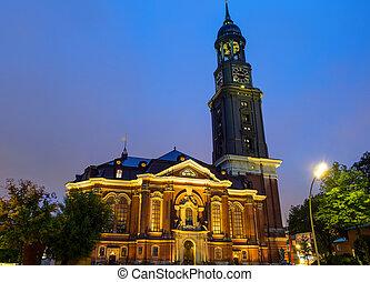 The St. Michaelis church at night - The St. Michaelis church...