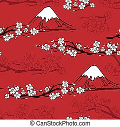 Japanese Flower Pattern - Japanese seamless pattern with...