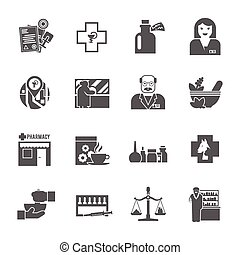 Pharmacicst black icons set - Pharmacy chemist shop black...