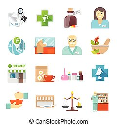 Pharmacicst flat icons set - Pharmacy and veterinary chemist...