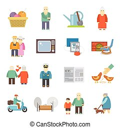 Pensioners life flat icons set - Retired couple of aged...