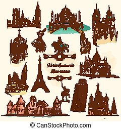 World Landmarks Sketch Vintage Icons Set - World landmarks...