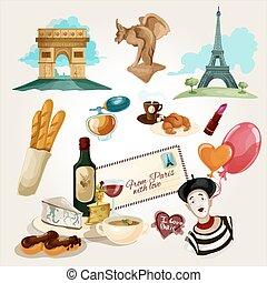 Paris Touristic Set - Paris touristic set with cartoon...