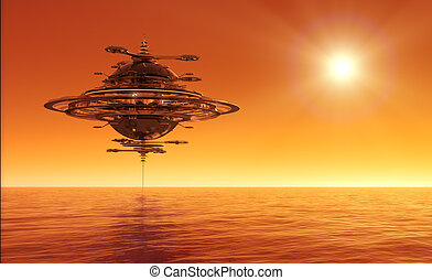 Futuristic Sky Station Flying Over Ocean