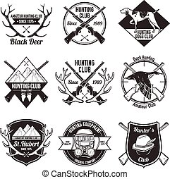 Vintage hunting labels set - Vintage hunting with dog duck...