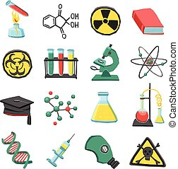 Laboratory chemistry icon set - Laboratory chemistry science...