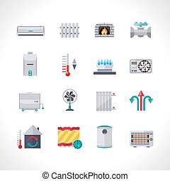 Heating Icons Set - Heating icons set with household...