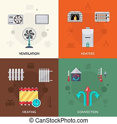 Heating Ventilation And Convection Icons Set - Heating...