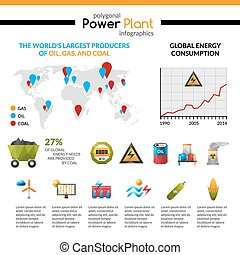 Power Plant And Mineral Extraction Infographic - Power plant...