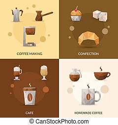 Coffee And Confectionery Icon Set - Coffee making and...