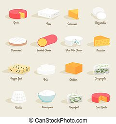 Cheese Icon Flat - Delicious fresh cheese variety icon flat...