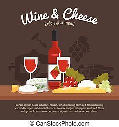 Wine And Cheese Life Still - Wine and cheese still life with...