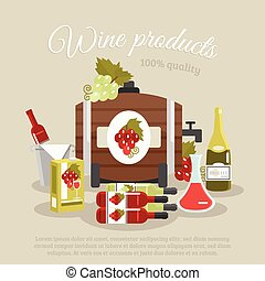 Wine Products Flat Life Still Poster - Wine products tagline...