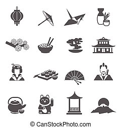 Japan Silhouette Flat Icon Set - Japan symbols gray...