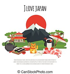 Japanese tradition Symbols Poster - Japanese national...