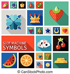 Slot machine symbols set - Slot machine symbols such as...