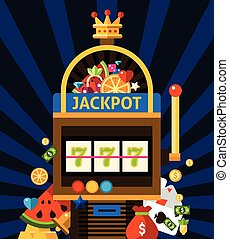 Slot machine concept with jackpot crown and money on dark...