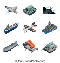 Military Equipment Isometric Set - Military equipment...