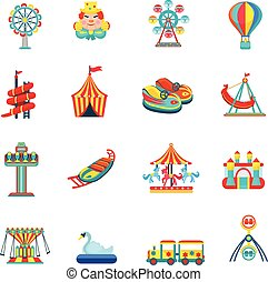 Amusement park icons set - Amusement park for children with...