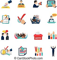 Elections icons set - Elections with voting debates and...