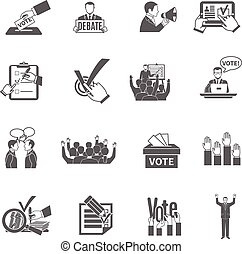 Election Icons Set - Elections and voting flat grey icons...