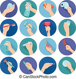 Hand Holding Objects Flat - Hand holding personal hygiene...