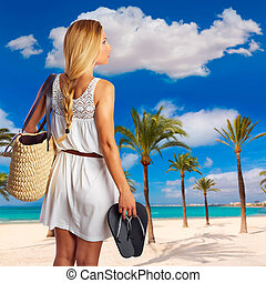 Blond tourist girl in Alcudia beach of Mallorca photomount