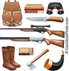 Hunting tackle and equipment icons set with rifles knives...