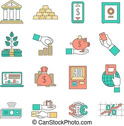 Banking business icons set - Banking business with exchange...