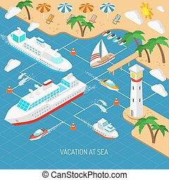 Sea vacation and ships concept - Sea vacation and ships with...
